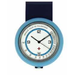 Montre Infirmiére en plastique Bleu avec broche Quartz Ronda 515 Swiss Parts EM15544