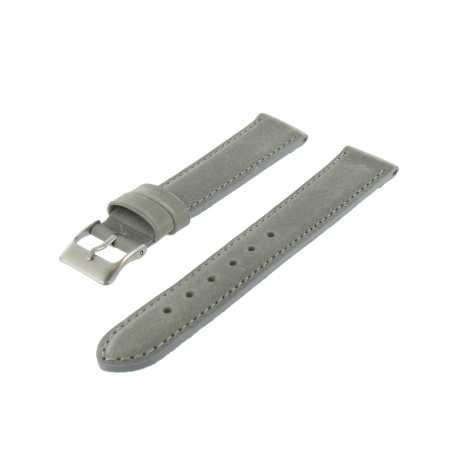 Bracelet montre Gris Largeurs de 14-18 et 20mm Cuir de veau Golf EcoCuir® Artisanal