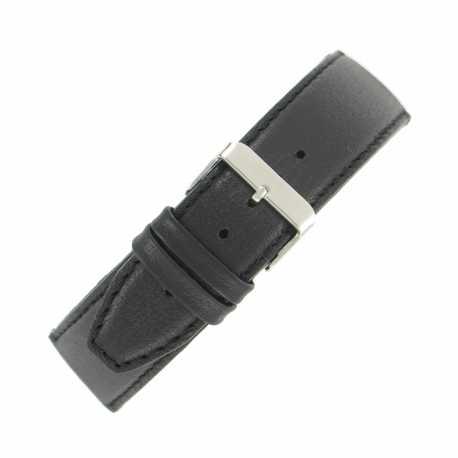 Bracelet de montre Noir Largeurs de 12 à 36mm en cuir de veau lisse Valencia Made In Spain