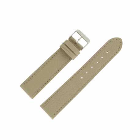 Bracelet montre Beige de 18 et 20mm en Cuir gaufré Buffalo Ecocuir® Artisanal