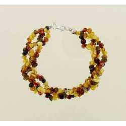 Bracelet Femme en Ambre 3 brins monté sur fil fermoir argent coloris mix