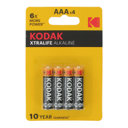 Blister de 4 Piles bouton AAA Alcaline Xtralife 1.5 Volts Kodak®