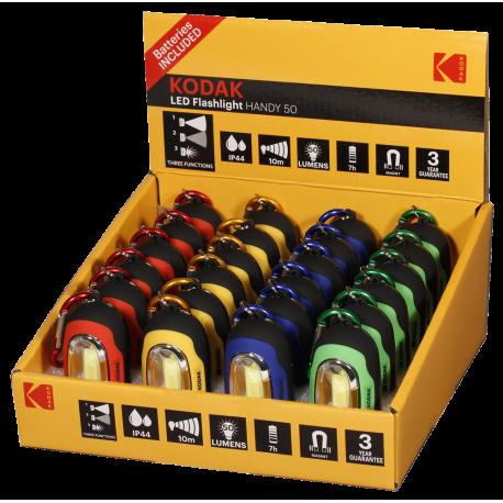 Présentoir de 24 Lampes de poche LED 50 lumens aimantée Handy Kodak®