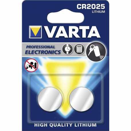 Blister de 2 Piles bouton CR2025 lithium 165mAh 3 Volts Varta®