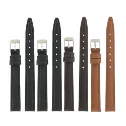 Lot de 4 Bracelets montre 12mm Extra Long assortis Cuir Lisse Asturias + 6 Piles Offertes
