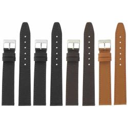 Lot de 4 bracelets montre 18mm Extra Long assortis en cuir Buffalo Sevilla Ecocuir® + 6 Piles Offertes