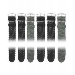 Lot de 6 Bracelets de montre en Perlon de 18 et 20 mm + 6 Piles Offertes