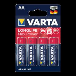 4 Piles LR6 AA Alcaline Lonflife Max Power 1.5 Volts Varta®