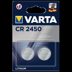 Blister 2 Piles bouton CR2450 lithium 3Volts 570mAh Varta®