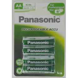 Blister de 4 Accus HR6 AA NiMH Rechargeables 1.2 Volts 2600 mAh Panasonic®
